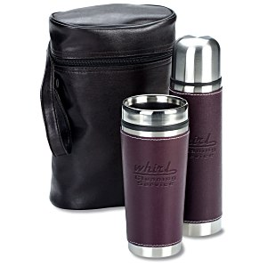 Leatherette Tumbler/Vacuum Bottle Set - Debossed Main Image