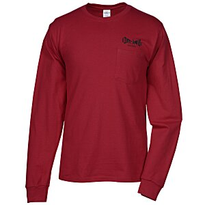 Hanes Tagless LS Pocket T-Shirt - Screen - Colors Main Image