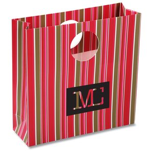 Round Handle Gift Bag - Fuchsia Stripe