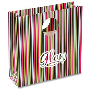 Round Handle Gift Bag - Green Stripe