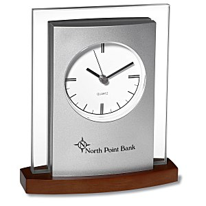 Desktop Analog Clock - Wood Base Main Image