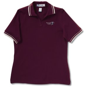 Extreme Pique Polo w/Textured Stripe Trim - Ladies'