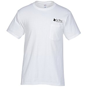 Hanes Tagless Pocket T-Shirt - Screen - White Main Image