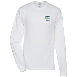 Hanes Tagless LS T-Shirt - Embroidered - White Main Image