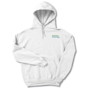 Jerzees NuBlend Hooded Sweatshirt - Embroidered - White Main Image