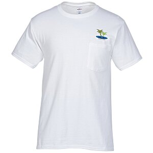 Hanes Tagless Pocket T-Shirt - Embroidered - White Main Image