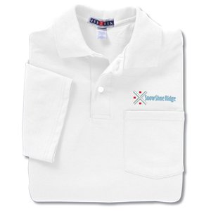 Jerzees Spotshield Jersey Shirt w/Pocket - White Main Image