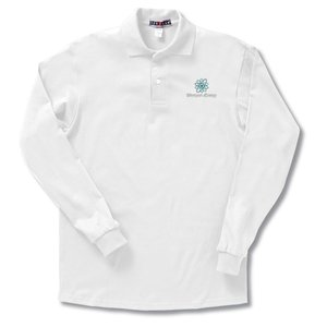 Jerzees Spotshield LS Jersey Knit Shirt - White Main Image