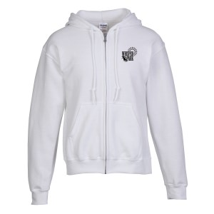 Gildan Full-Zip Hoodie - Men's - Embroidered - White