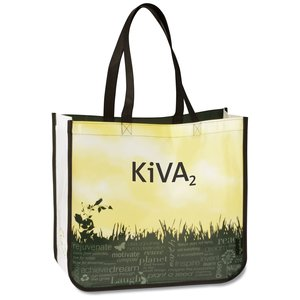 "Laminated Polypropylene - 14"" x 16"" - Green Grass Tote Main Image"