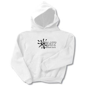 Jerzees NuBlend Hooded Sweatshirt - Youth - Screen - White Main Image