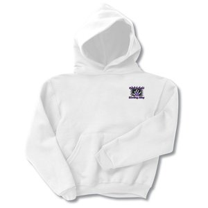 Jerzees Hooded Sweatshirt - Youth - Embroidered - White Main Image