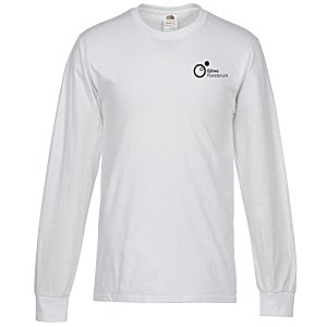 Fruit of the Loom Long Sleeve 100% Cotton T-Shirt - White - Screen Main Image