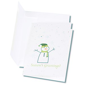 Seeded Holiday Card - Season's Greenings Snowman