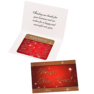Greeting Card with Magnetic Calendar - Red & Gold New Year Main Image