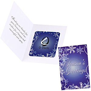 Greeting Card with Magnetic Photo Frame - Snowflakes Main Image