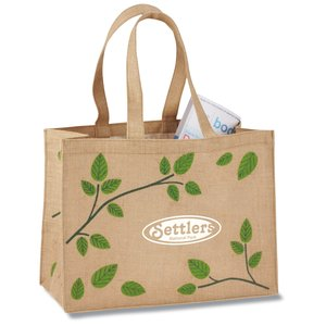 V Natural Jute Shopper - Leaves