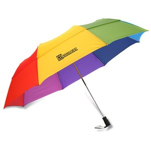 totes Stormbeater Folding Umbrella - Rainbow