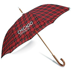totes Automatic Stick Umbrella - Plaid Main Image