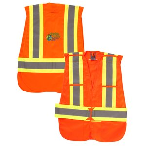 5-Point Vertical Stripe Tear Away Safety Vest - Embroidered Main Image