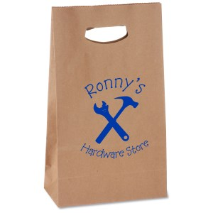 "Die Cut Handle Kraft Paper Bag - 11"" x 7"" Main Image"