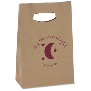 "Die Cut Handle Kraft Paper Bag - 13-1/2"" x 8"" Main Image"