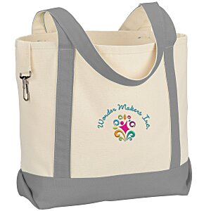 Two-Tone Accent Gusseted Tote - Embroidered Main Image
