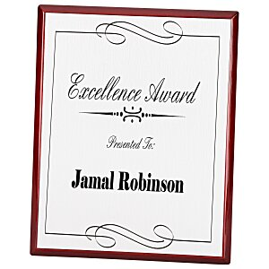 Rosewood Finished Plaque with Aluminum Plate - 10""