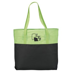 Zippered Two-Tone Tote - Closeout Main Image