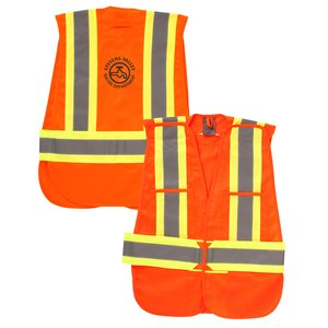 5-Point Vertical Stripe Tear Away Safety Vest - Screen Main Image