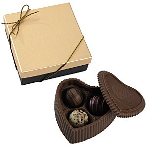 Chocolate Heart Box with Truffles - Gold Box Main Image