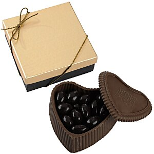Chocolate Heart Box with Confection - Gold Box Main Image