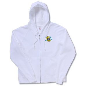 Hanes Full-Zip Hoodie - Ladies' - White Main Image