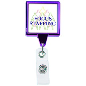 Retractable Badge Holder - Square - Chrome Finish Main Image