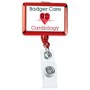 Retractable Badge Holder - Rectangle - Chrome Finish Main Image