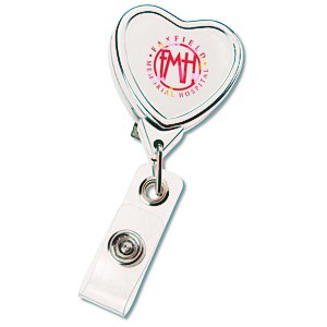 Retractable Badge Holder - Heart - Chrome Finish Main Image