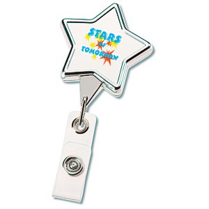 Retractable Badge Holder - Star - Chrome Finish Main Image