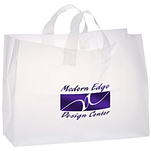 "Soft-Loop Frosted Clear Shopper - 12"" x 16"" - Foil Main Image"