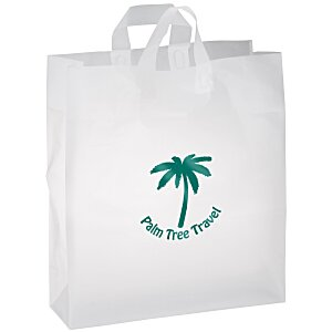 "Soft-Loop Frosted Clear Shopper - 19"" x 16"" - Foil Main Image"