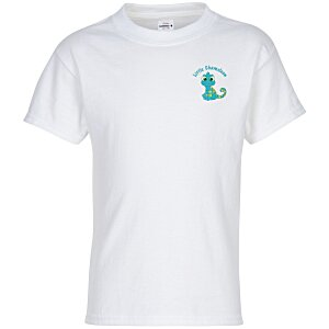 Hanes Tagless T-Shirt - Youth - Embroidered - White Main Image