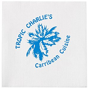 Beverage Napkin - 1-ply - White - Linen Embossed