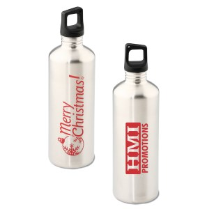 h2go Stainless Bottle - 24 oz. - Merry Christmas - Silver Main Image