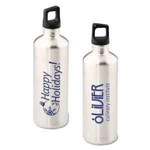h2go Stainless Bottle - 24 oz. - Happy Holidays - Silver Main Image