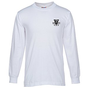 Bayside USA Made Long Sleeve T-Shirt - White Main Image