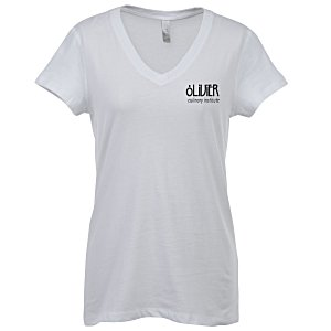 Bella+Canvas V-Neck Jersey T-Shirt - Ladies' - White - Screen Main Image