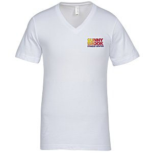 Bella+Canvas V-Neck T-Shirt - Men's - White - Embroidered Main Image