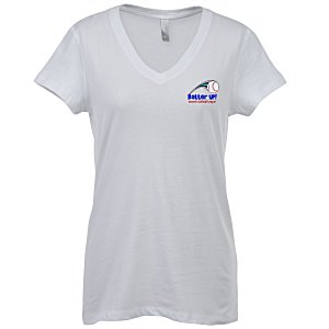 Bella+Canvas V-Neck Jersey T-Shirt - Ladies' - White - Embroidered Main Image