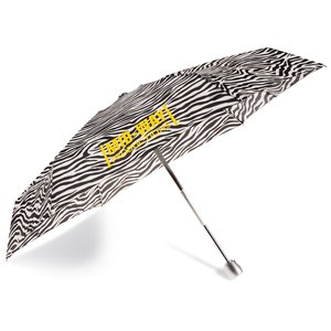 totes Mini Auto Open/Close Umbrella w/Case - Zebra Main Image
