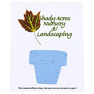 "Seeded Paper Shapes Mailer/Postcard - 4"" x 5"" Flower Pot"
