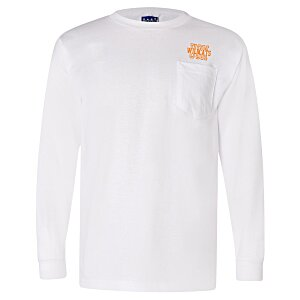 Bayside Union Made LS Pocket T-Shirt - White Main Image
